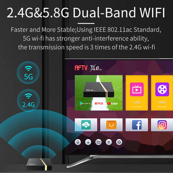 Supertv Mate Caja de TV X6 LITE S905W 4K HD Android9.0 Rom2G+16G Android Set Top Box con Dual-Band Wifi 2.4 G y 5G de Buena Calidad Caja de TV